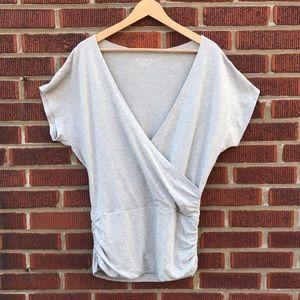 Beyond Yoga Wrap Front Gray Cotton Top